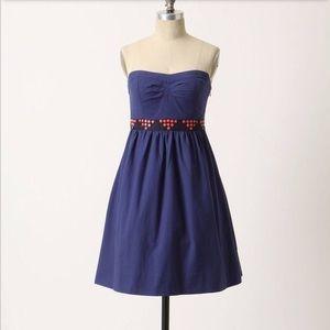 Floreat Anthropologie blue strapless dress
